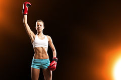Female boxer winner Stock Images