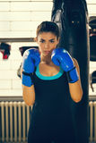 Female Boxer. Young Female Boxer At Training Stock Photo