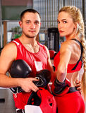 Female boxer with your male coach after workout Stock Images