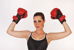 Female boxing champ Stock Images