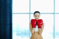 Female in boxing gloves Royalty Free Stock Photos