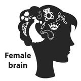 Female brain. Black silhouette of a girl with a stylized brain Royalty Free Stock Photography