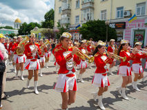 Female Brass Band performing Royalty Free Stock Images
