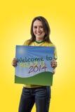 Female Brazilian fan celebrating Stock Photo