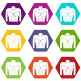Female breast in a bra icon set color hexahedron. Female breast in a bra icon set many color hexahedron isolated on white vector illustration Royalty Free Stock Image