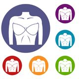 Female breast in a bra icons set Stock Photography