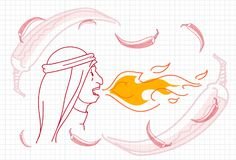 Female Breathing Fire, Hot Chili Pepper Concept Sketch. Vector Illustration Stock Photo