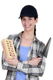 Female bricklayer Royalty Free Stock Photo