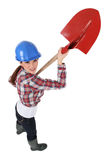 Female bricklayer Stock Image