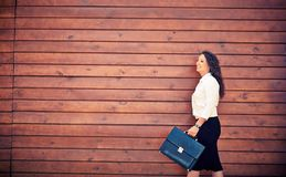 Female with briefcase Royalty Free Stock Image