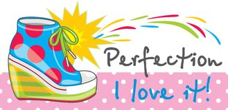 Female bright trendy sneakers. Banner for design. Illustration Royalty Free Stock Photos