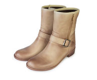 Female brown demi boots Royalty Free Stock Photo