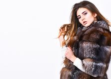 Female brown fur coat. Fur store model enjoy warm in soft fluffy coat with collar. Fur fashion concept. Winter elite. Luxury clothes. Woman makeup and hairstyle stock photography