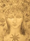 Female buddha with lotus flowers in sepia tones. The dabbing technique near the edges gives a soft focus effect due to the altered surface roughness of the stock illustration