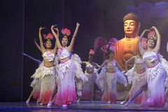 Female buddhist dancers Royalty Free Stock Image