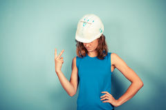 Female buidler swearing Royalty Free Stock Images