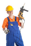 Female builder with boring machine Royalty Free Stock Image