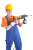 Female builder with boring machine thumb up Stock Photography