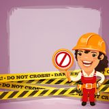 Female Builder With Danger Tapes Stock Photo