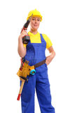 Female builder with driller Stock Images
