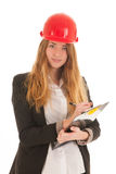 Female builder with helmet Stock Images