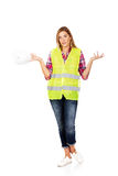 Female builder makind do not know sign Royalty Free Stock Image