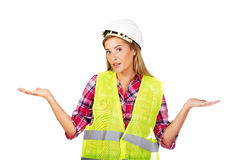 Female builder making do not know sign Stock Photography