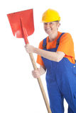 Female builder with shovel Stock Images