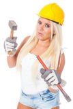 Female building labor Royalty Free Stock Image