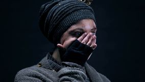 Free Female Bum Wiping Tears Covering Face With Hand, Poverty Hopelessness, Abuse Royalty Free Stock Images - 148651029