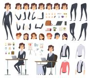 Female business animation. Director office manager woman body parts clothes and business wardrobe items vector character. Creation kit. Illustration of vector illustration