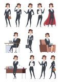 Female business characters. Company office workers action pose making different works with self business items vector vector illustration