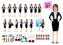Free Female Business Characters Set With Office Woman Standing And Talking Royalty Free Stock Images - 135755079