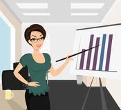 Female business coach. Is demonstrating a diagram in classroom vector illustration