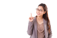Female business executive, business woman pointing up. Happy, positive female business executive, business woman pointing one finger up, white isolated Royalty Free Stock Photos