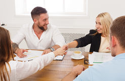 Female business handshake at office meeting, contract conclusion and su. Female business handshake at office corporate meeting, contract conclusion and Royalty Free Stock Image