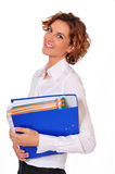 Female Business Professional with Binder In-hand. Young Business Professional with a blue Binder In-hand Royalty Free Stock Photo