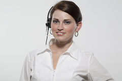 Female Business Professional Wearing a Headset Stock Image