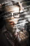 Female Business Spy With Smoke Near Window Blinds Royalty Free Stock Images