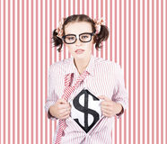 Female Business Superhero Showing Dollar Sign Stock Photos