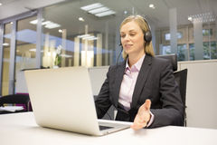 Female business talk call center operator stock images
