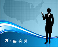 Female Business traveler on US map background Stock Image