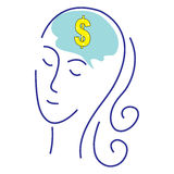 Female Business. A womans head with gold dollar sign symbol. Concept for thinking or dreaming about making money or business success or having a money making Royalty Free Stock Photo