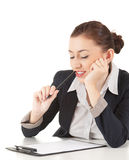 Female businesswoman with clipboard and pen Royalty Free Stock Image