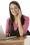 Female Businesswoman Using Laptop At Desk Stock Photos