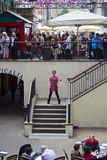 Female busker, singing opera at Covent Garden, London. Stock Photography