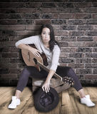 Female busker. Stock Photography