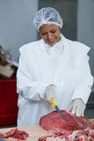 Female butcher cutting meat at meat factory Royalty Free Stock Image