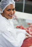 Female butcher cutting meat at meat factory Stock Photography