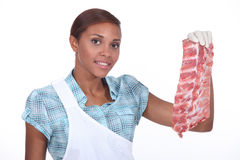 Female butcher Royalty Free Stock Image